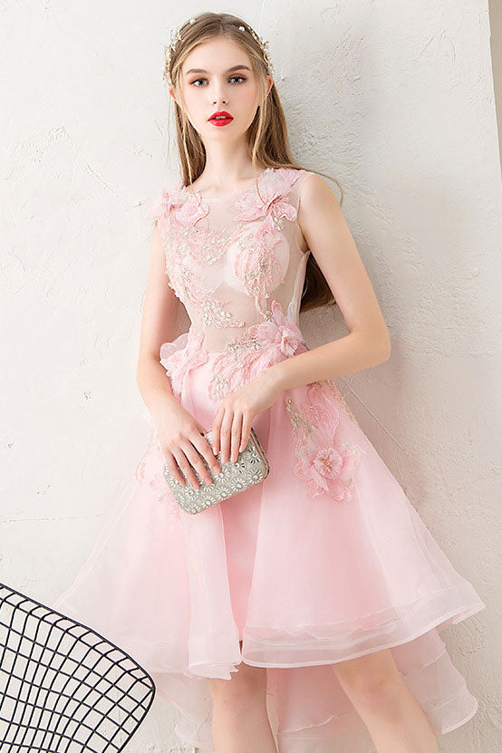 Pink tulle lace short prom dress, pink homecoming dress