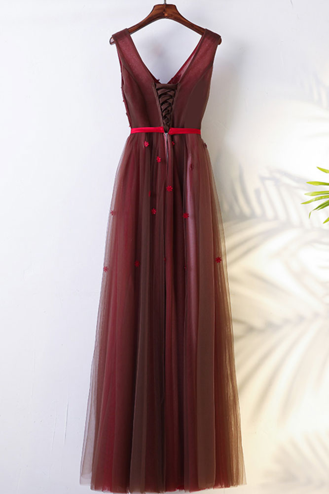 Burgundy v neck lace tulle long prom dress bridesmaid dress