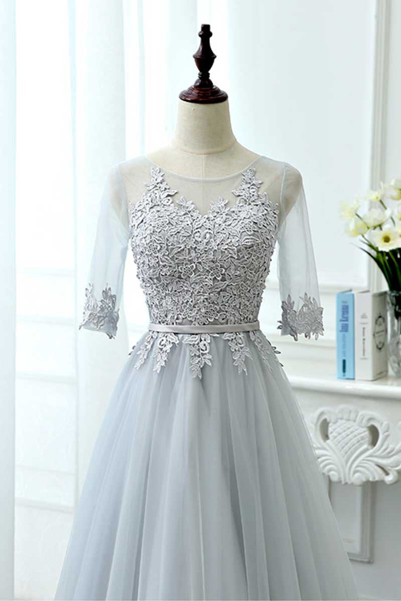 Gray tulle lace long prom dress tulle lace bridesmaid dress gray tulle lace long prom dress tulle lace bridesmaid dress ombrellifo Choice Image