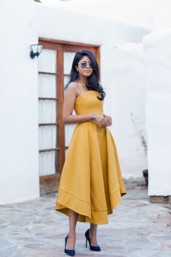 Simple yellow short prom dress, satin yellow evening dress
