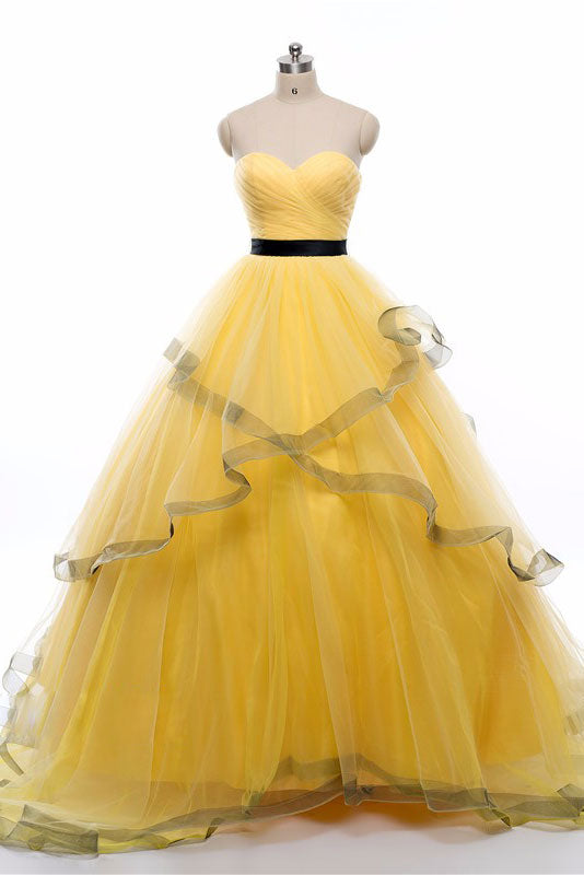 Yellow sweetheart tulle long prom dress, yellow evening dress