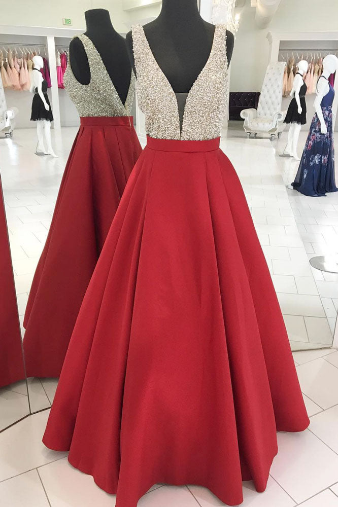Red v neck sequin long prom dress, satin red long evening dress