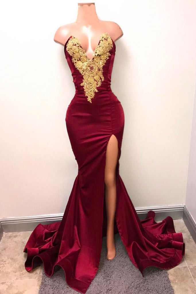 Burgundy lace mermaid long prom dress, burgundy evening dress