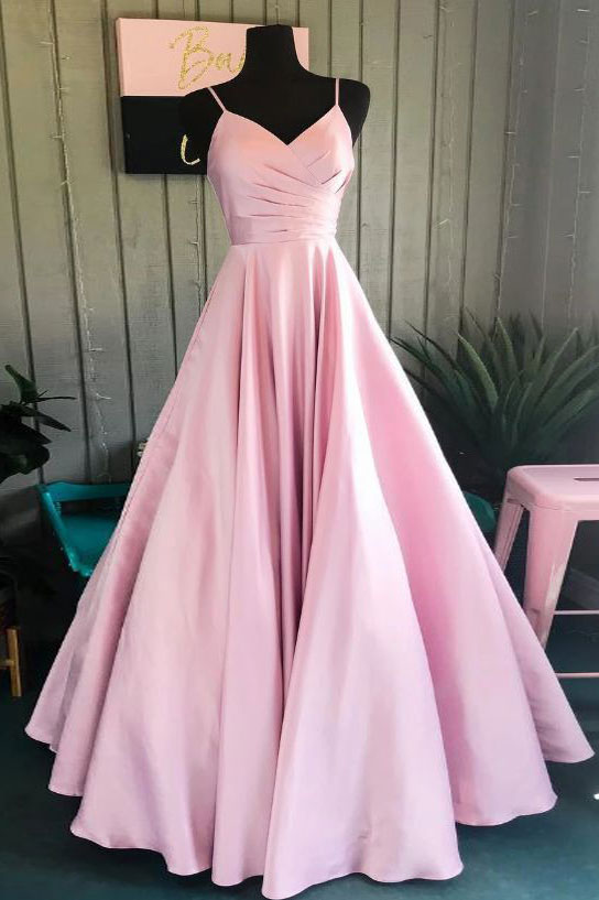 Simple v neck pink satin long prom dress pink formal dress
