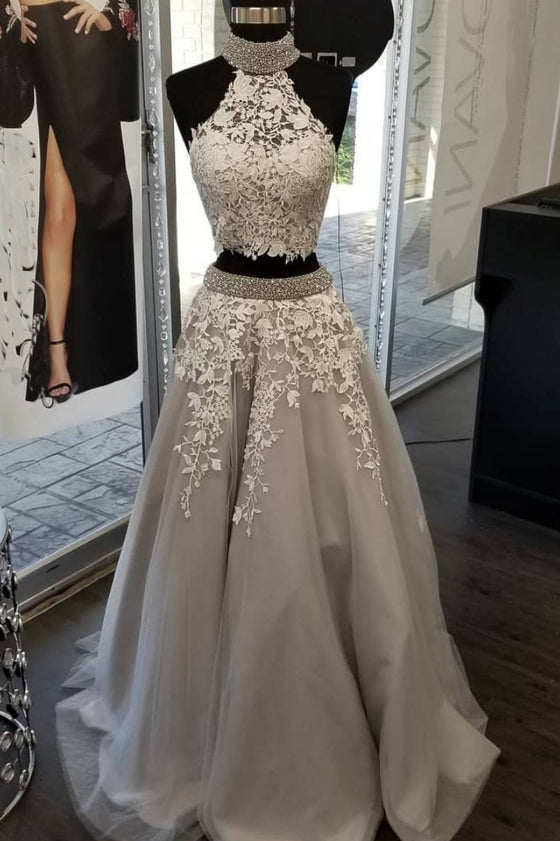 Gray tulle lace sequin beads long prom dress, gray evening dress