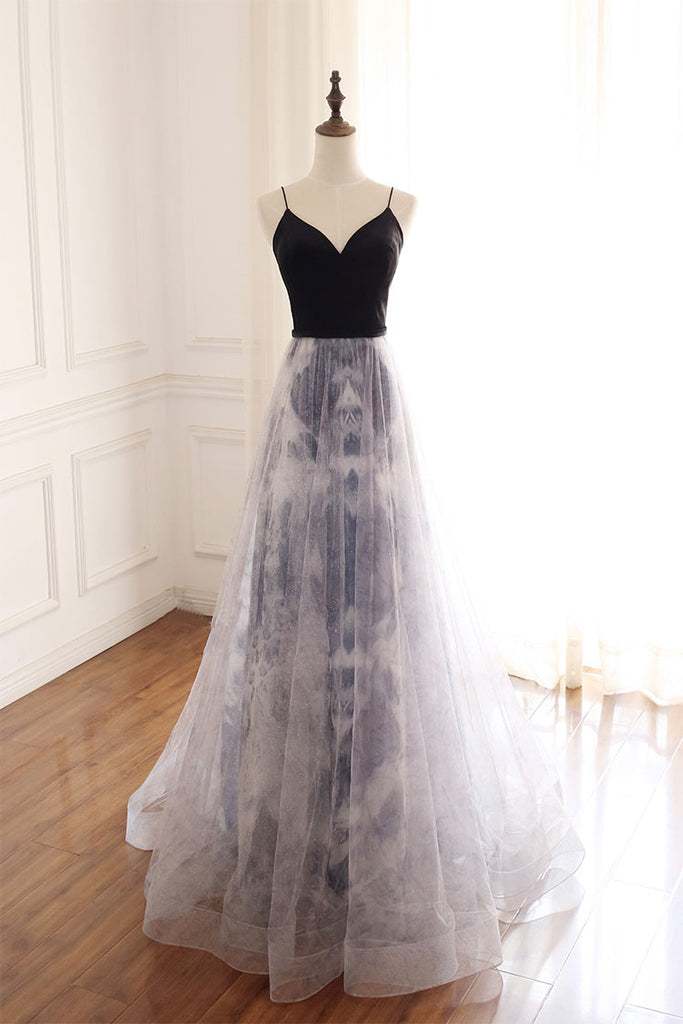 Unique sweetheart tulle long prom dress tulle formal dress