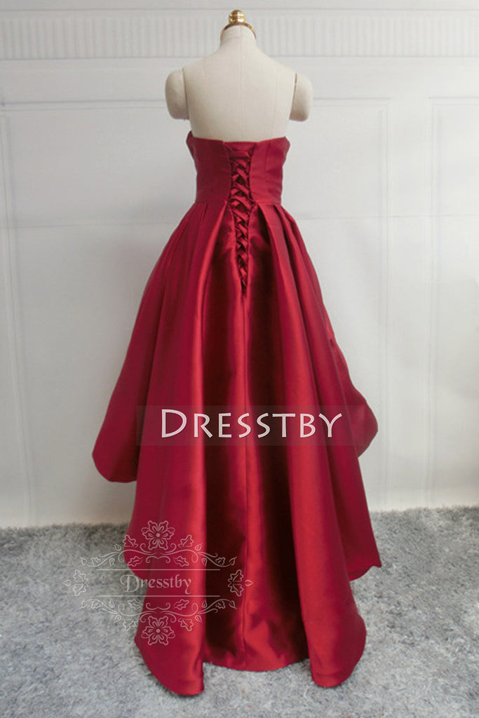 Red Retro high-low prom dress, red evening dress