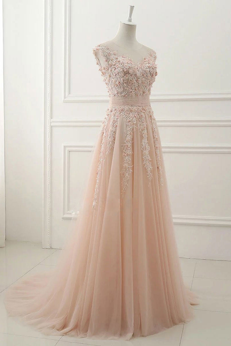 a811a6cfe57 Pink round neck lace applique tulle long prom dress
