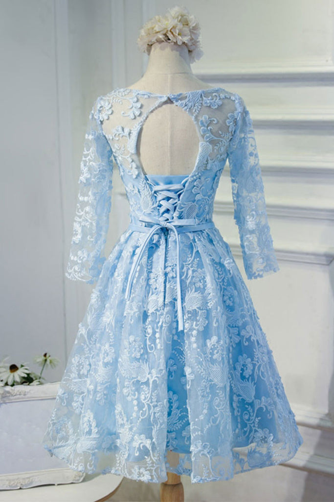 Blue round neck lace short prom dress, blue homecoming dress