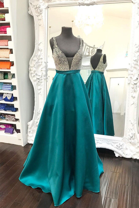 Unique v neck sequin green long prom dress, green evening dress