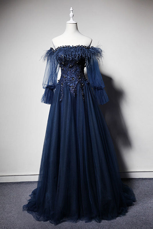 Dark blue off shoulder tulle long prom dress, blue evening dress
