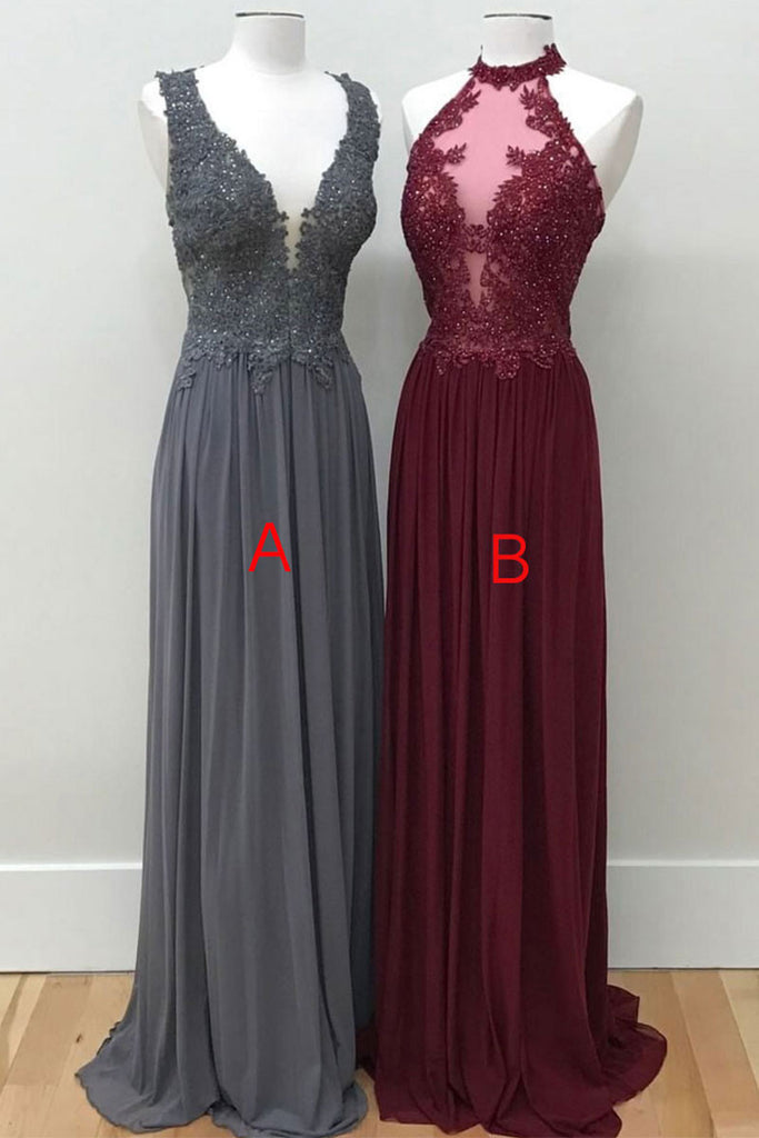 Unique lace chiffon long prom dress, lace formal dress