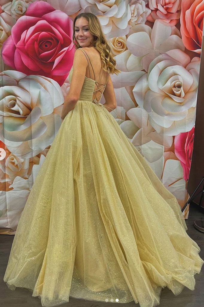 Gold v neck tulle long prom dress tulle formal dress