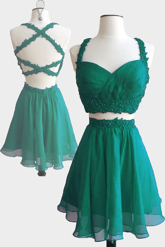 Green two pieces short prom dress, cute homecoming dress