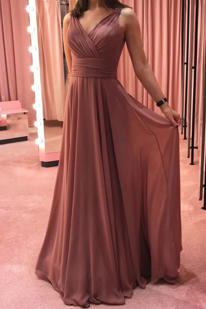 Simple v neck chiffon long prom dress chiffon formal dress