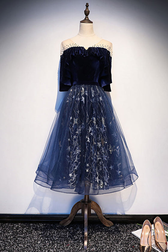 Blue tulle lace short prom dress, blue evening dress