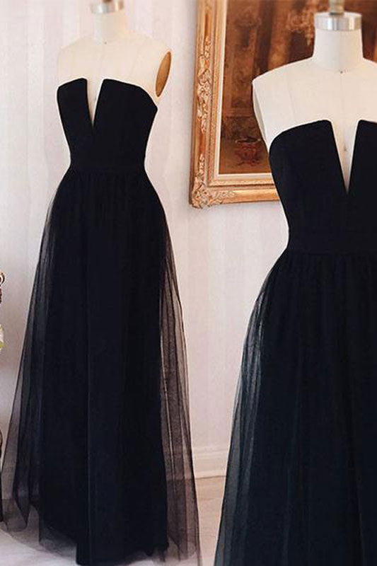 Simple tulle black long prom dress, black evening dress