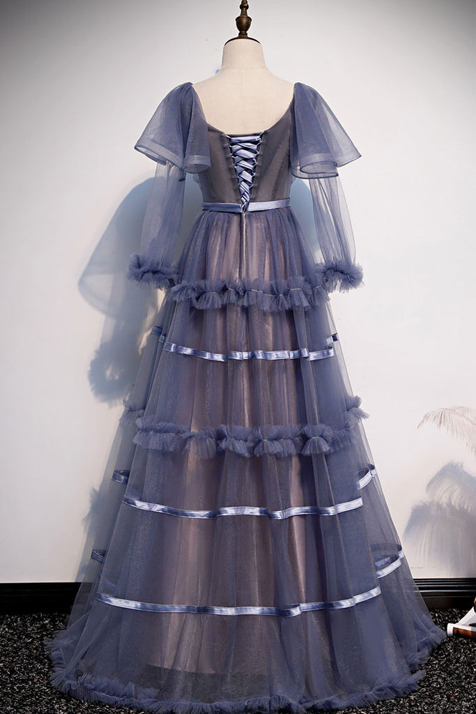 Unique round neck tulle long prom dress tulle evening dress