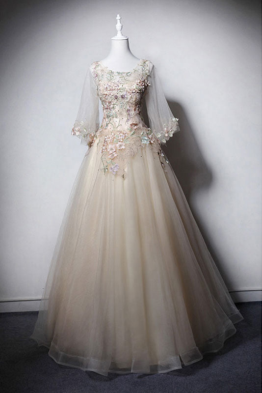 Champagne round neck tulle long prom dress, tulle evening dress