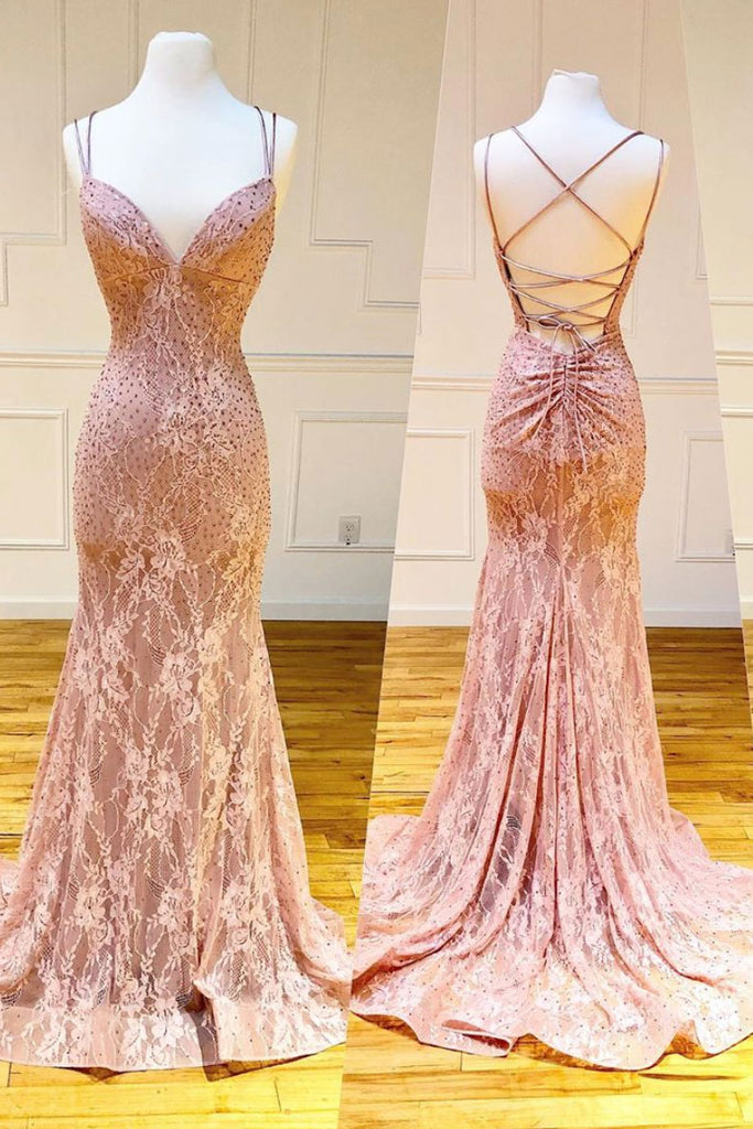Pink v neck lace mermaid long prom dress pink evening dress