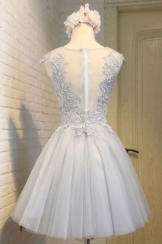 Simple round neck lace applique tulle short prom dress, homecoming dress