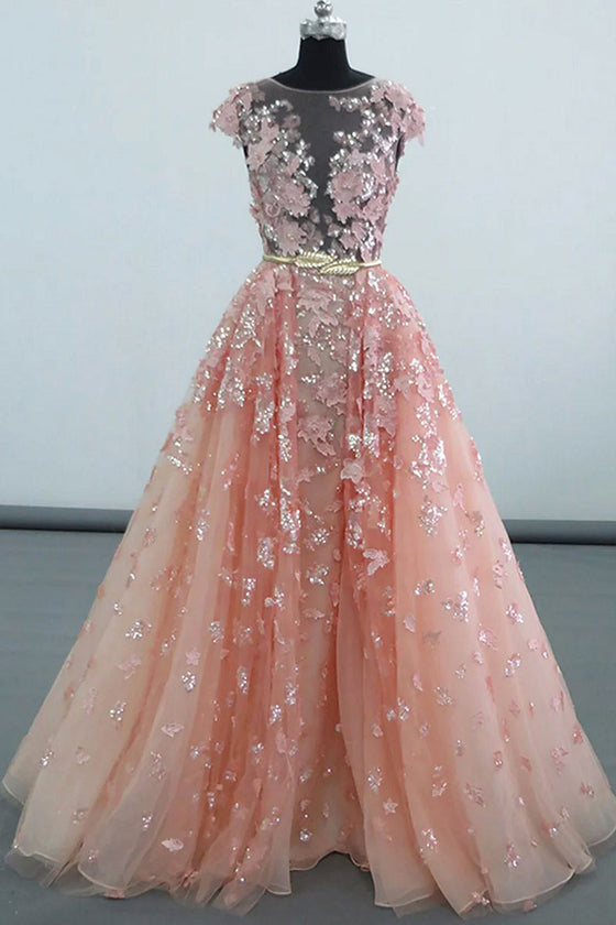 Pink round neck tulle lace applique long prom dress, pink evening dress