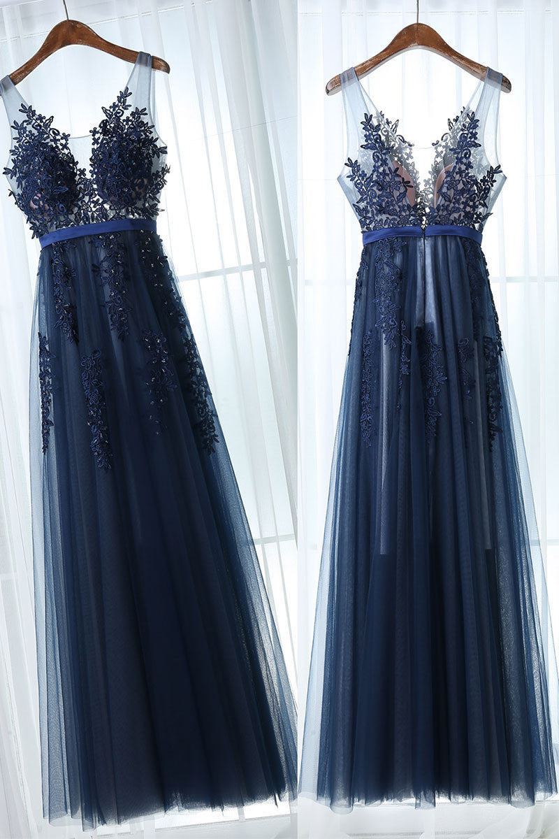 Dark blue tulle lace long prom dress, dark blue bridesmaid dress ...