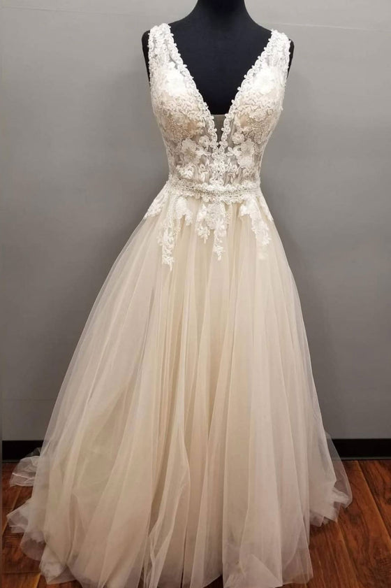 Champagne v neck tulle lace long prom dress, champagne wedding dress