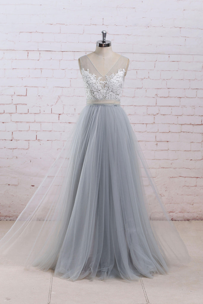 Gray A-line lace tulle long prom dress, gray tulle bridesmaid dress