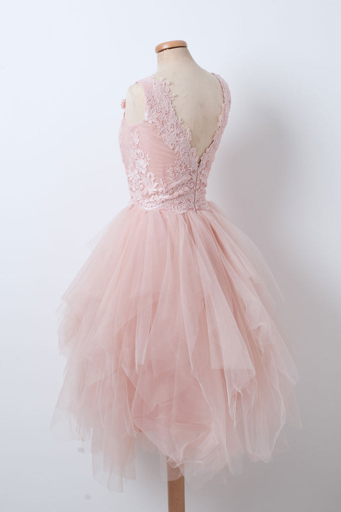 Pink v neck tulle lace short prom dress, pink homecoming dress