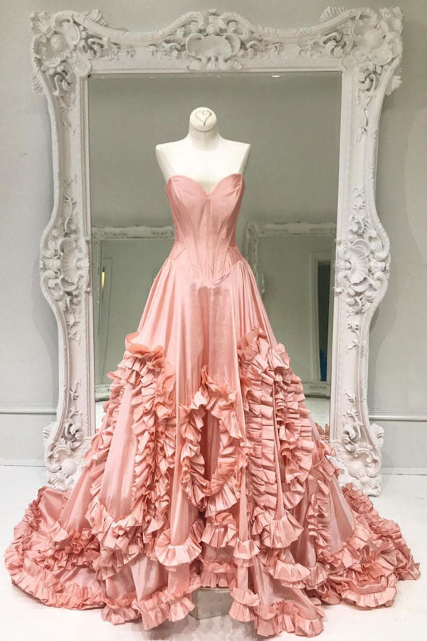 Unique pink satin long prom dress, pink evening dress