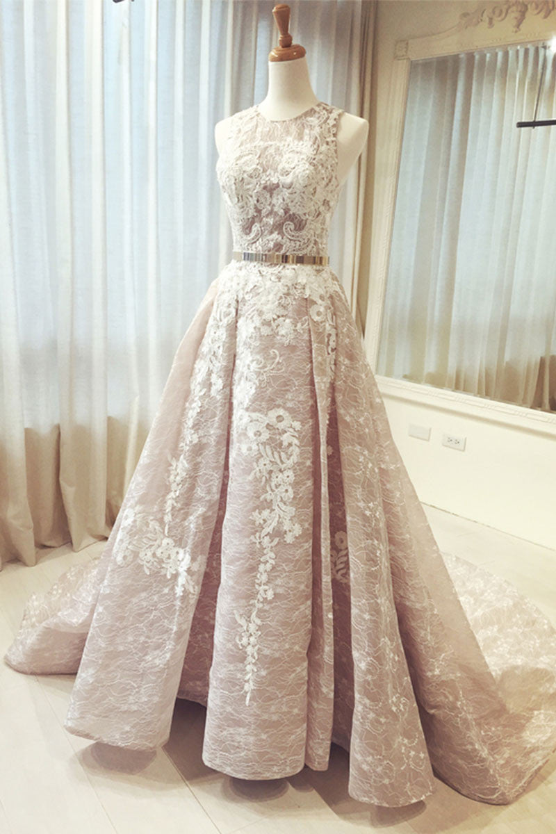 Champagne round neck lace long prom dress, wedding dress - dresstby
