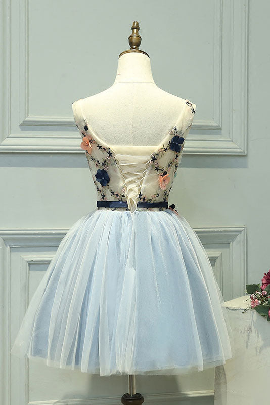 f5e46f0989f Cute gray blue tulle lace applique short prom dress - dresstby