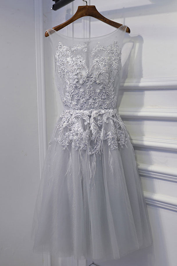 Gray round neck tulle lace short prom dress, gray tulle homecoming dress