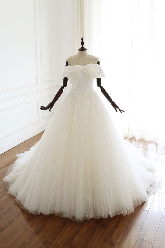 White tulle long wedding gown, white tulle bridal dress
