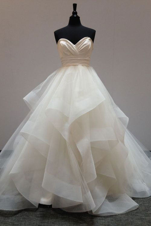Simple sweetheart neck tulle long wedding dress,  bridal gown