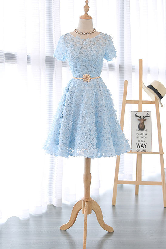 Cute 3D lace short blue prom dress, blue homecoming dress