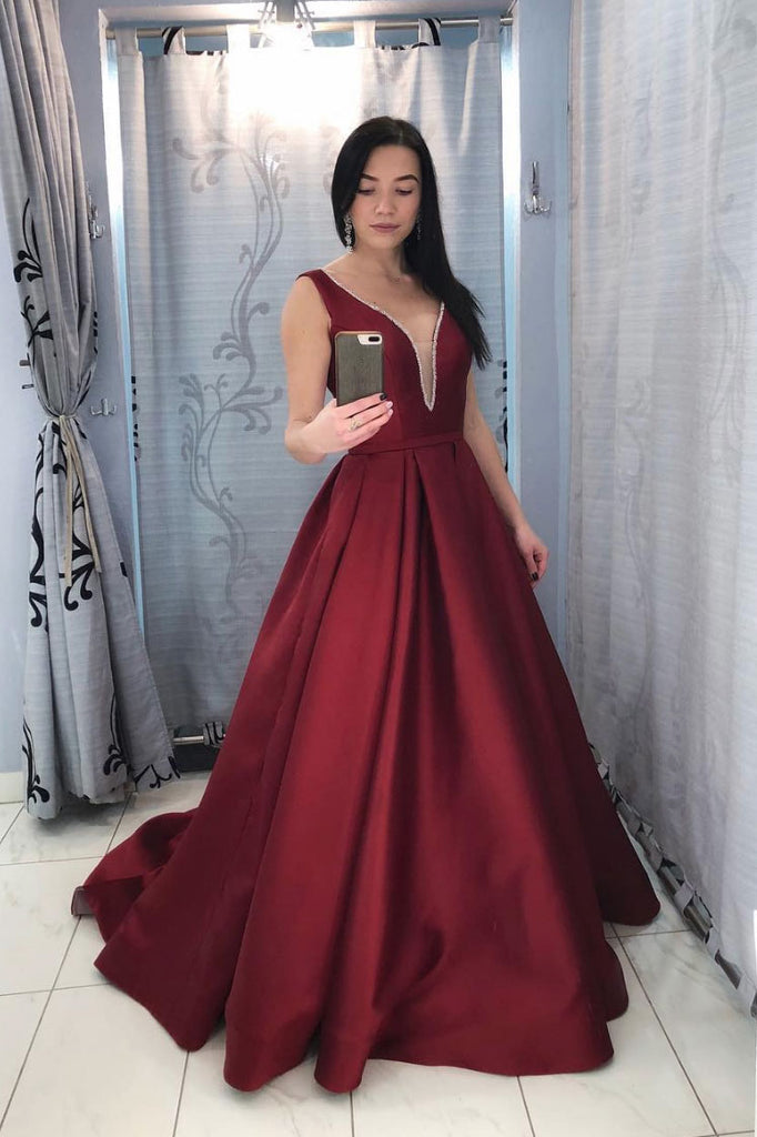 Burgundy v neck satin long prom dress, burgundy satin evening dress