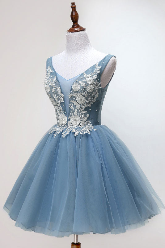 Blue tulle lace short prom dress, blue tulle lace homecoming dress