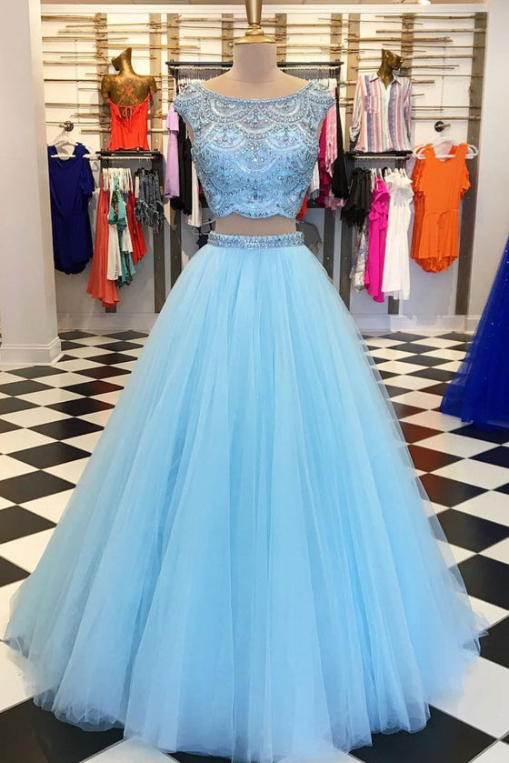 Blue round neck beads tulle long prom dress, blue evening dress