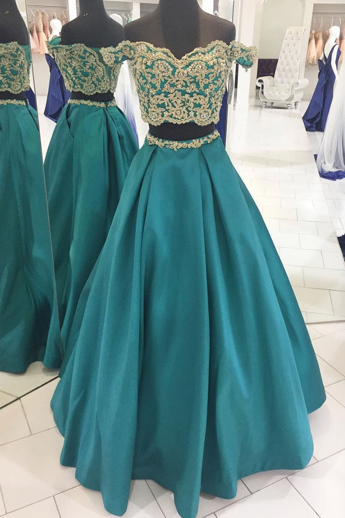Green two pieces long prom dress, green evening dress