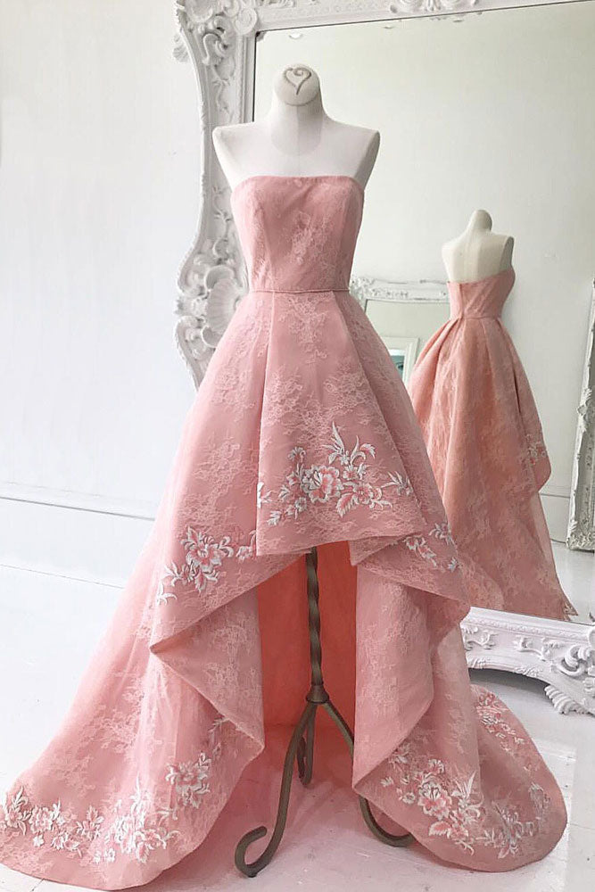 Pink lace high low prom dress, pink homecoming dress