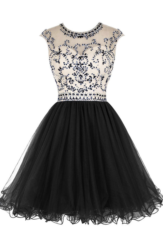 Black round neck sequin beads short prom dress, homecoming dress