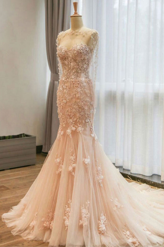 champagne tulle lace mermaid long prom dress, champagne wedding dress