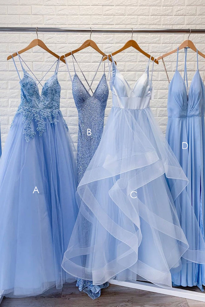 Blue lace tulle long prom dress blue formal dress