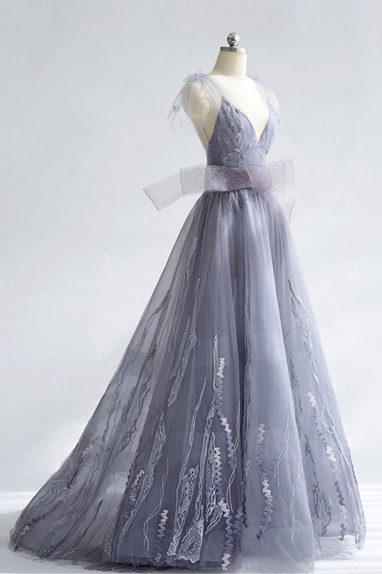 Unique gray tulle v neck long prom dress, unique evening dress