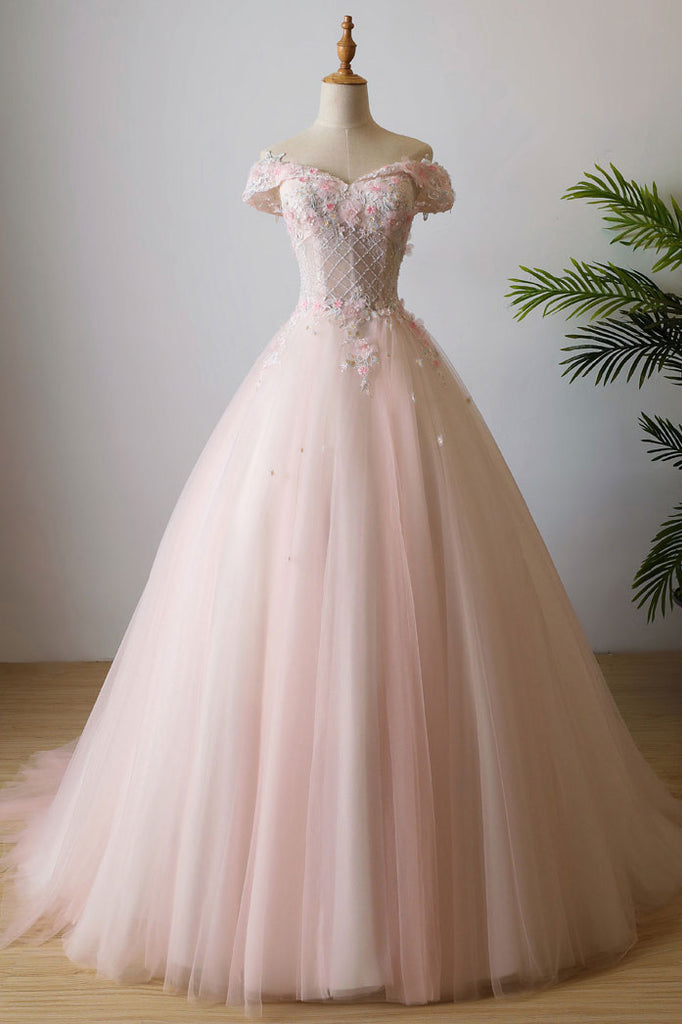 Pink off shoulder tulle lace long prom dress, pink evening dress