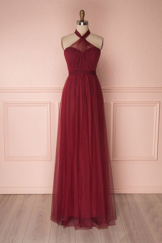 Burgundy tulle sweetheart long prom dress, burgundy evening dress