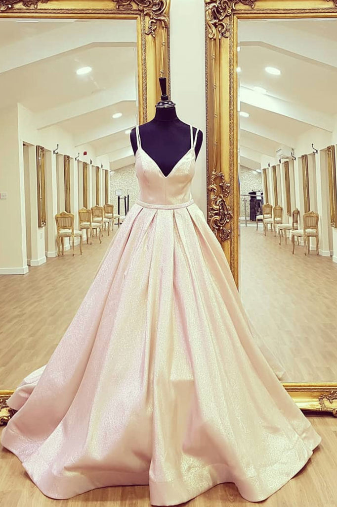 Champagne v neck satin long prom dress, evening dress