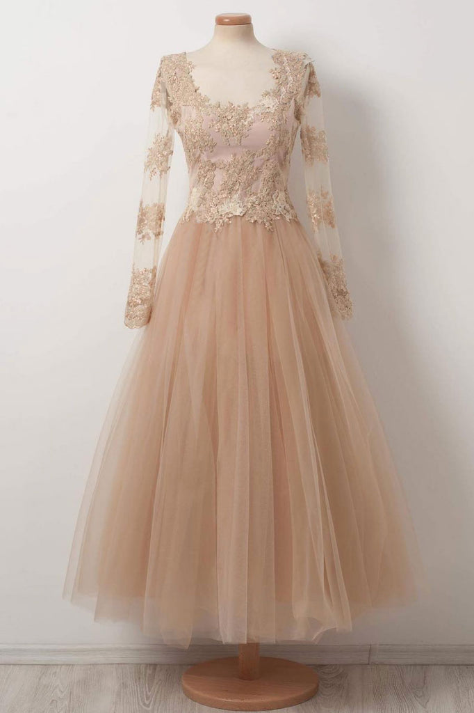 Champagne tulle lace tea Length prom dress, champagne evening dress